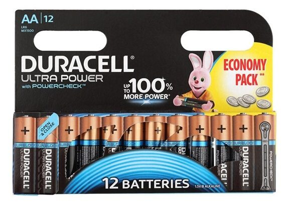 AA Батарейка DURACELL Ultra Power LR6-12BL MX1500, 12 шт.